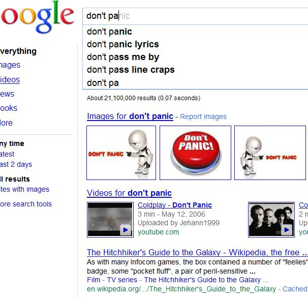 Image of Google Instant Search Results