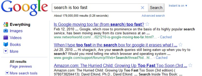Instant Search is Too Instant for Humans