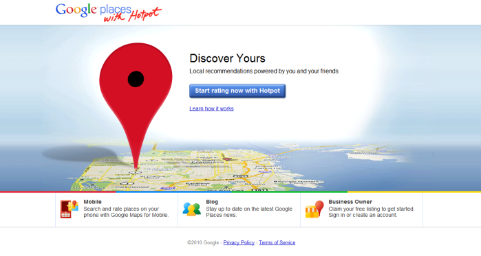 Screenshot of Google Places with Hotpot