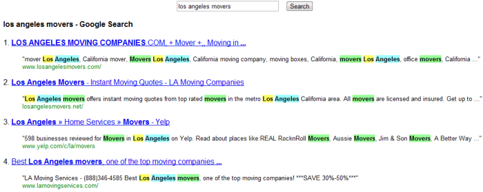 Google Results for Los Angeles Movers